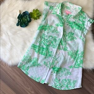 Lilly Pulitzer Button Down Sleeveless Blouse